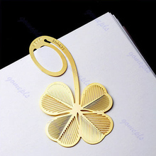 Free Shipping 10pcs/lot Reading Four-leaf Clover Metal Clip Bookmark Gift Book Mark For Kids  (China (Mainland))