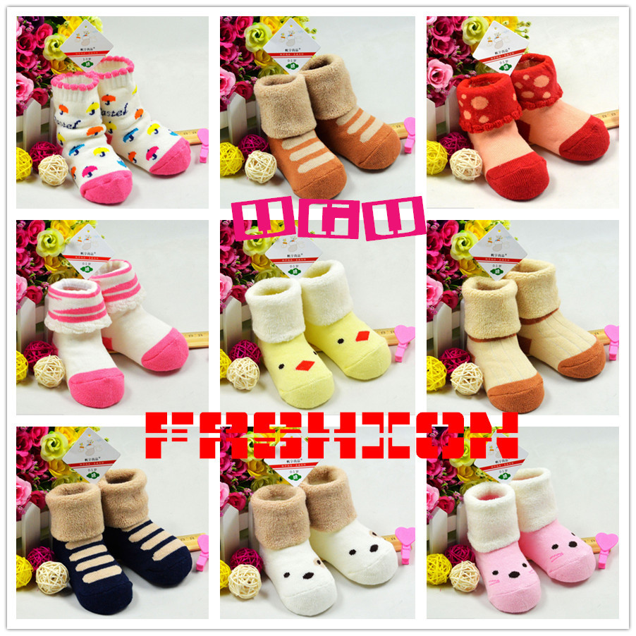 2015 Color Cartoon Baby Winter Thicked Warmer 10 Patterns Top 100% Pure Cotton Infant Toddler 0-3 Years Boy Girl Baby Socks,Sox(China (Mainland))