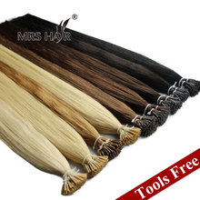 "Pre Bonded Hair Extension Cheveux Keratin 1G Strand Cold Fusion I Tip Indian Remy Hair Straight 16""~24"" Fusion Hair Tools Free(China (Mainland))"