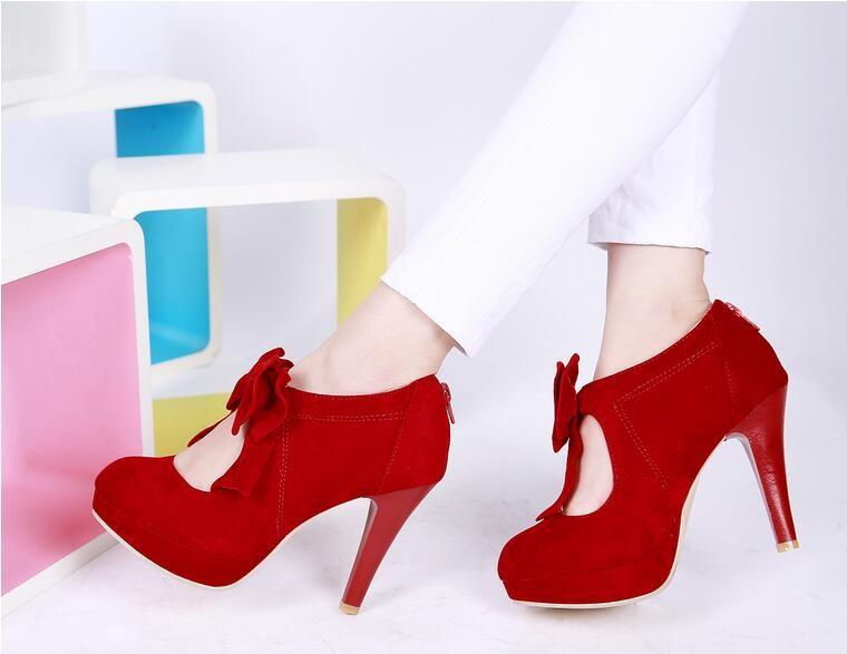 Red Butterfly-Knot Suede Pump Shoes Platform High Heels Dress Shoe With Rear Zip Round Toe Party Heels Willow Valley