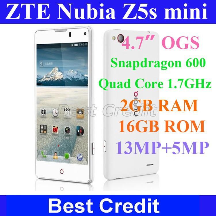 "Freeshipping original ZTE Nubia Z5s mini Snapdragon 600 quad core 1.7GHz mobile phone 4.7"" IGZO 2GB+16GB 13MP white black/Eva(China (Mainland))"
