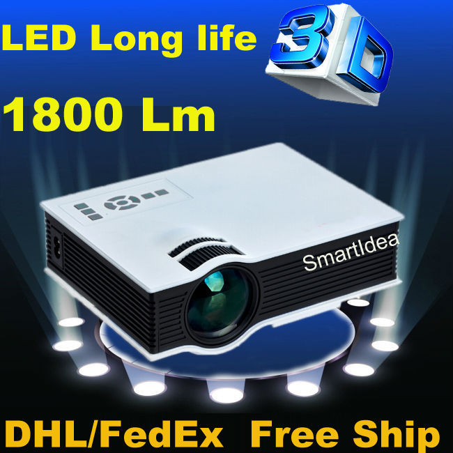Support Korean !! 2015 New UC40+ Projector 1800lumens Mini LED home cinema Projector Digital Video Game Proyector HD 3D Beamer(China (Mainland))