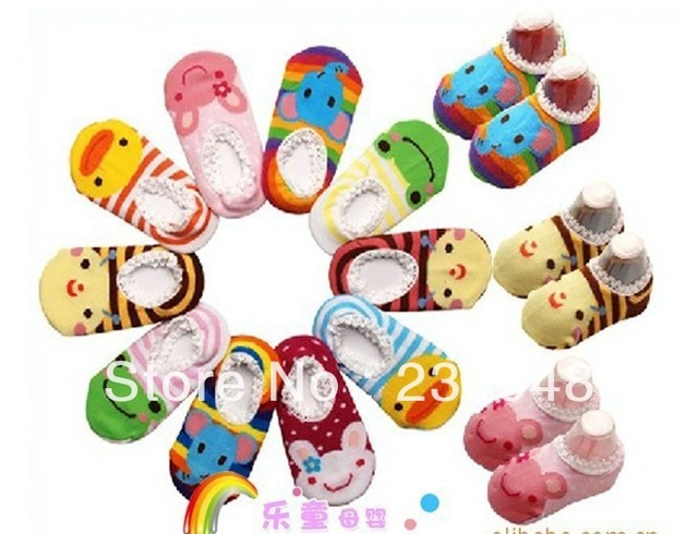 free shpping New arrival hot-selling 100% cotton Wholesale ,Animal,Cute Cartoon,baby short antiskid sock,baby wear,baby socks
