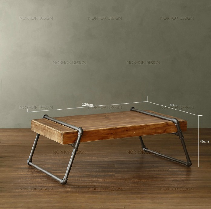 Table basse salon fer forge bois for Plateau report designer