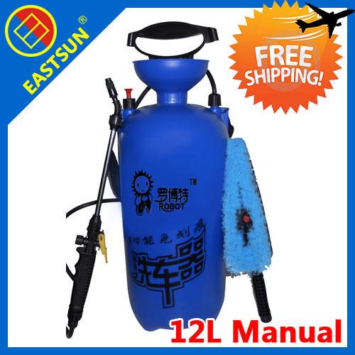Бесплатная Доставка!EASTSUN питьевой воды шайбы автомобиля машина 12л ручной насос высокого давления спрей для мойки автомобилей Оборудование мытья автомобиля