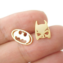 Min 1Pc Batman Themed Bat Mask and Logo Shaped Stud Earrings in Silver DC Comics Super Heroes Themed Jewelry ED076(China (Mainland))