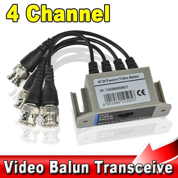 BNC 4CH Video Balun UTP Passive Coax Transmission Cat 5 RJ45 Transceiver 4 Channel CAT5 CCTV Camera Transceiver Receiver Cable(China (Mainland))