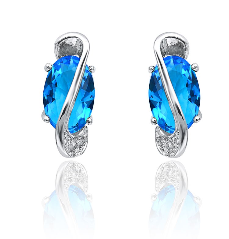 The new high-end jewelry Hearts and Arrows Classic Blue Topaz Micro Pave zircon earrings jewelry charm girls gift 1403(China (Mainland))