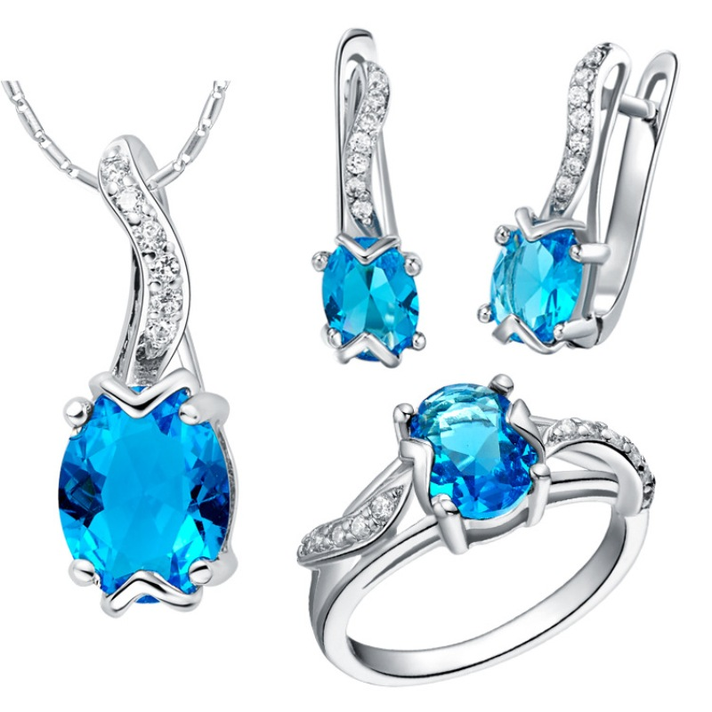 2016 sterling-silver-jewelry Sets Luxury Water Drop Red Blue Purple Crystal Jewelry Sets 925 Sliver Earrings/Pendant/Necklace/(China (Mainland))