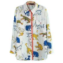 2015 Womens Blouses Lepal Long Sleeve Shirts Women Summer Cat Animal Print Pockets Blusas White Yellow Camisa Mujer C35Y12