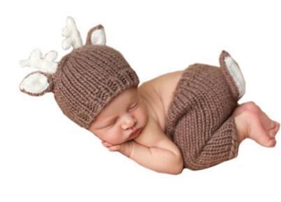 Deer Set Design Newborn Baby Handmade Cartoon Costume Knitted Crochet photography props Newborn photo baby Caps Hats BH73(China (Mainland))