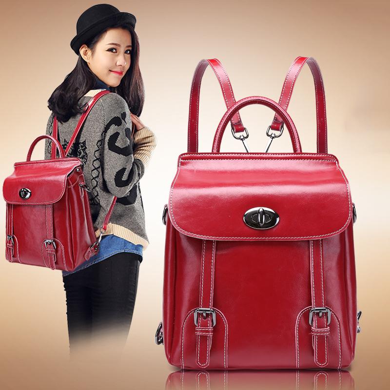 2015 Fashion Quality 100% Oil Wax Genuine Leather Women Backpack Shoulders Bag For Womens Zipper Bigs Mochilas Femininas smb386<br><br>Aliexpress