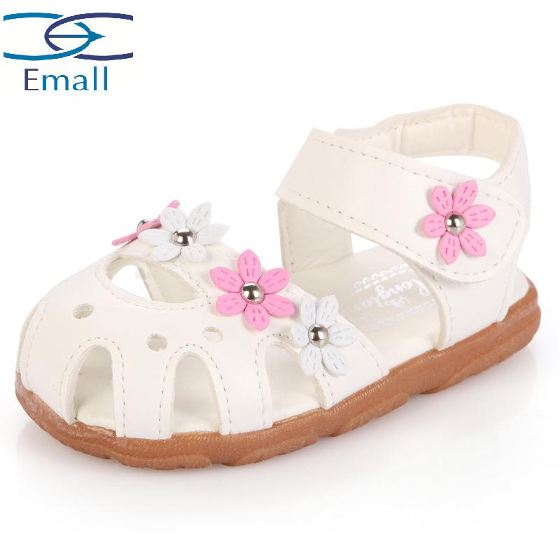 Flower sandals shoes for children leather flat with sandals shoe kids