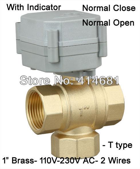1 39 39 T Type 3 Way Motorized Ball Valve Npt Bsp Ac110 230v
