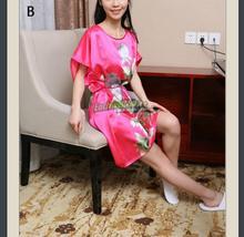 Short Sleeve Floral Sexy Plus Size Women Silk Robe Lady Girl Silk Pajamas Housecoat Nightgowns Loungewear