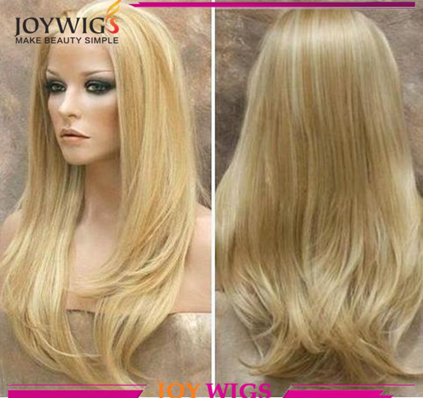 Free Shipping 5x5 Silk Top Blonde Highlight Human Hair Wigs Cheap Virgin Remy European Lace Front/Full Lace Human Hair Wig(China (Mainland))