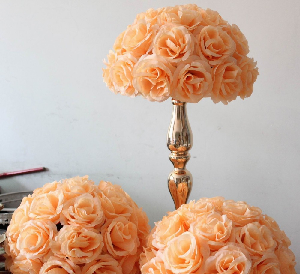 Free shipping peach wedding table centerpiece decoration for Artificial flower for wedding decoration