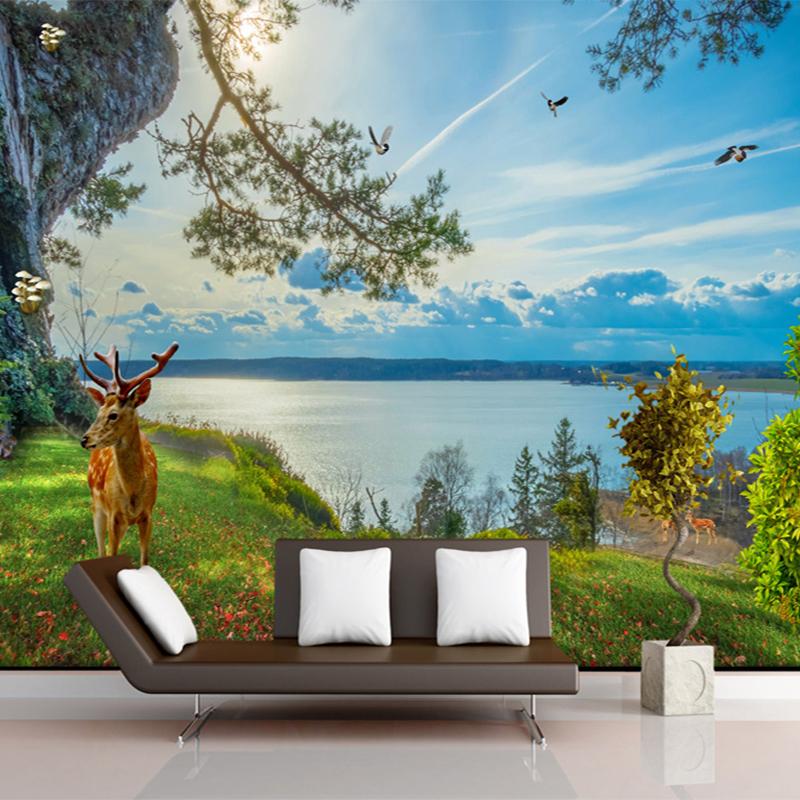 Popular deer wallpapers buy cheap deer wallpapers lots for Deer wall mural wallpaper