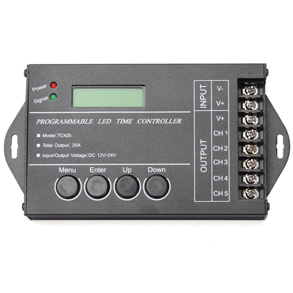 High Quality DC12-24V 20A 5 Channel Output Computer Programmable Led Time Controller TC420 Assemble With USB Cable And CD-ROM(China (Mainland))