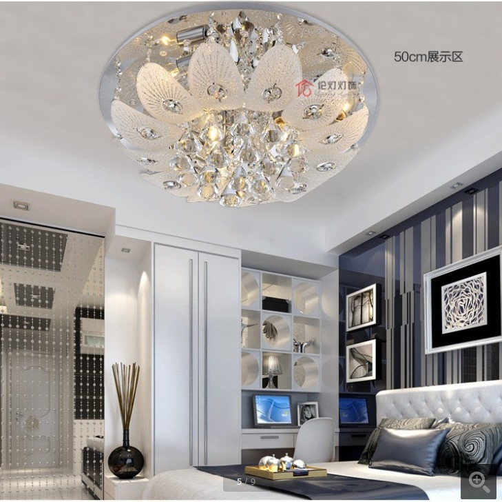 Led crystal light modern minimalist living room ceiling for Living room light fixtures