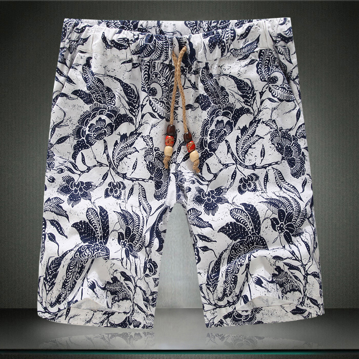 2015 New Casual Shorts Men Fashion Floral Print Quality Mens Summer Loose Outdoor Sport Board/Basketball Shorts Plus Size Sale!(China (Mainland))