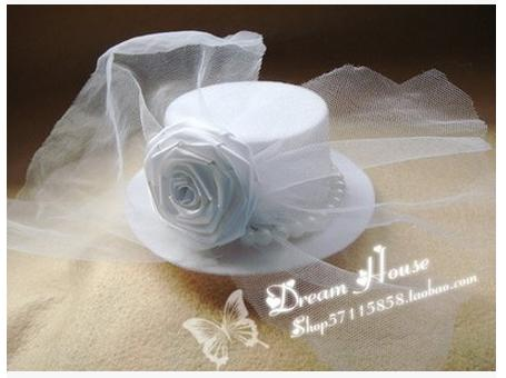 Classic new arrival top clamp imitation pearl white rose flowers decorate veil small hat hairpin hair accessories headwear D063(China (Mainland))