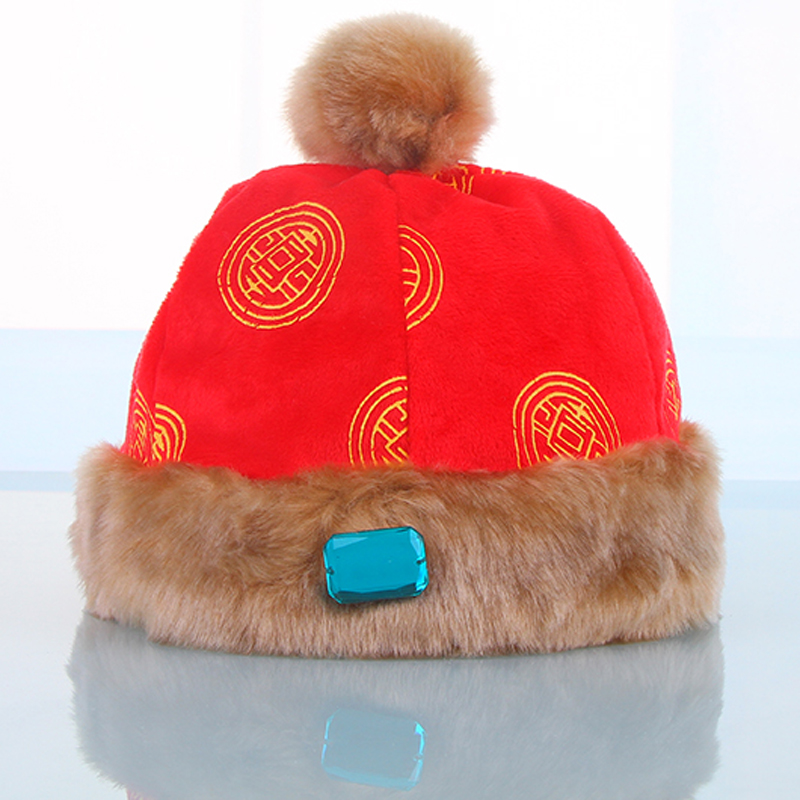 2016 winter chinese style kids hats with ball of fur red yellow unisex for 7-24 months baby boy hat #160104_k65(China (Mainland))