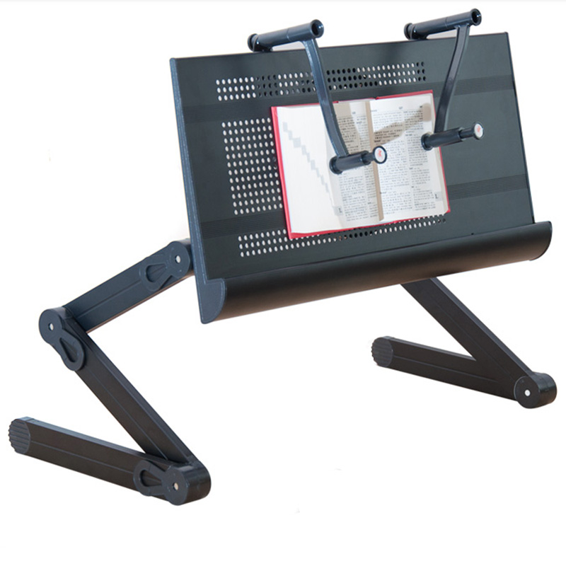 Portable Folding Ergonomic Mobile Laptop Table Stand Desk with Mouse Pad and Book Clamping for Bed Sofa Carpet(China (Mainland))