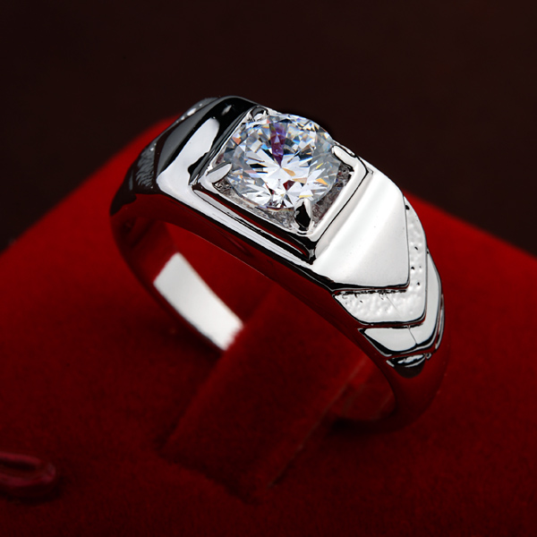 Vintage Jewelry Men's Large Size Big Ring Silver Plated Top Grade AAA CZ Diamond Engagement Wedding Rings(China (Mainland))