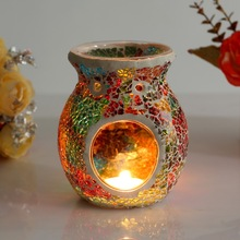 Free Shipping 1 X Mosaic Glass Candle Holder Incense Burner Oil Lamp Cafe Bar Home Table Decorative(China (Mainland))