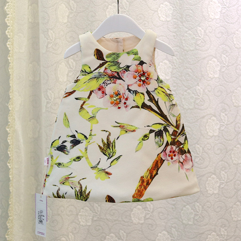 2017 New Baby Girl Cotton Vest Chinese Style Dress Print Floral Back Button White Cute Dress Infant Spring Fall Clothing 6m 24m(China (Mainland))