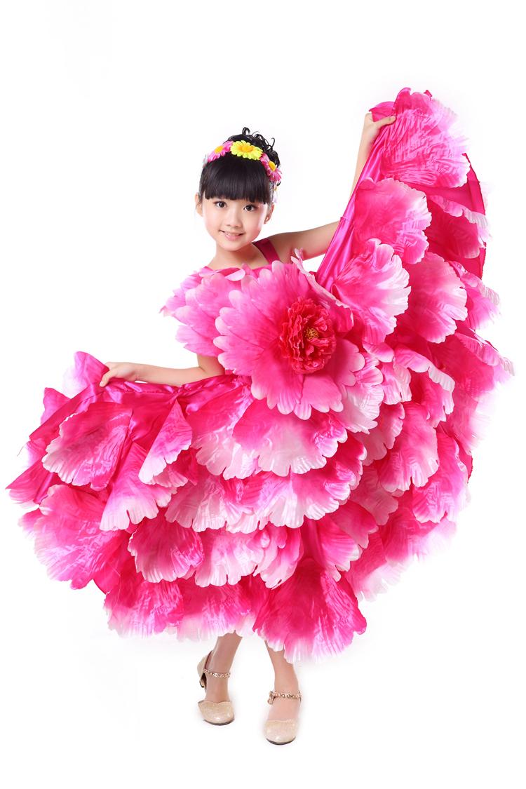 children Flamenco dance costume expansion costume modern dance performance wear petal skirt spanish flamenco dress 360(China (Mainland))