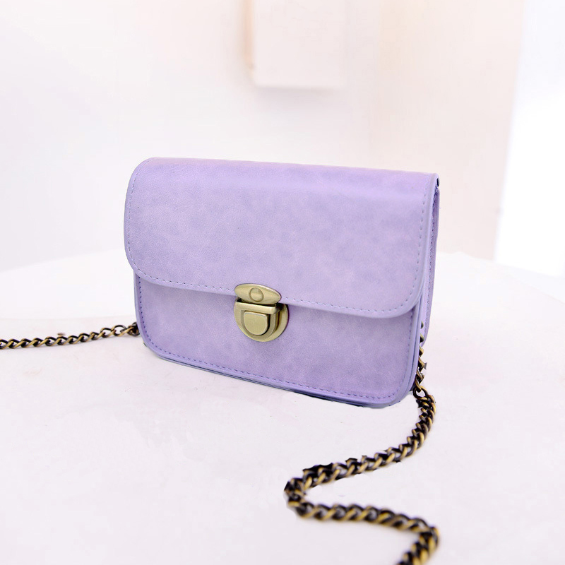 New Fashion Women Messenger bags Chain Shoulder Bag PU Leather Candy Color Crossbody Mini Bag Pure Color(China (Mainland))