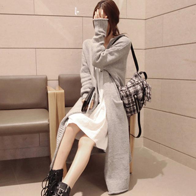 Новую одежду весной кардиган 2016 долго вязаный кардиган широкий чистый цвет мода ...