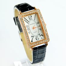 La nueva alta calidad mujeres del reloj de cuero rectángulo creativo reloj elegante reloj de cuarzo mujeres ocasionales envío gratis 2015 nuevo