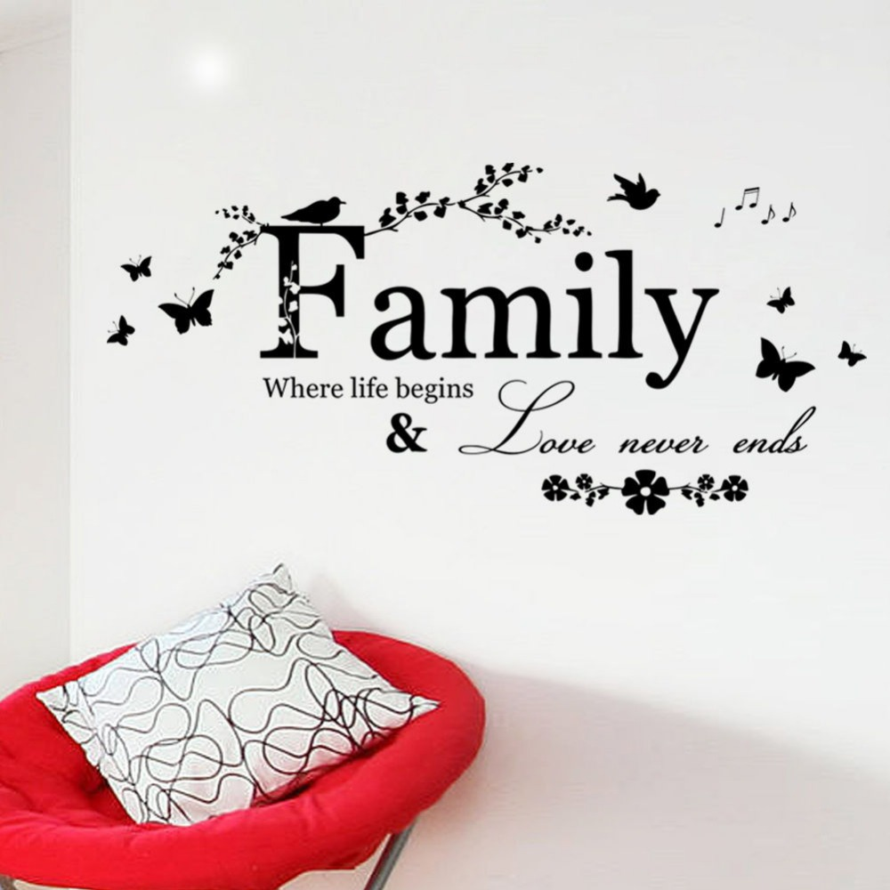 wall decal family art bedroom decor family birds life quote wall art sticker vinyl decal home room decor removable beautiful pvc wall stickers free shipping