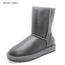 Inoe Cổ Điển Da Cừu Len Lông Lót Nữ Giữa Bắp Chân Mùa Đông Giày Dành Cho Người Phụ Nữ Cơ Bản Ủng Giày Chống Nước đen Xám(China)