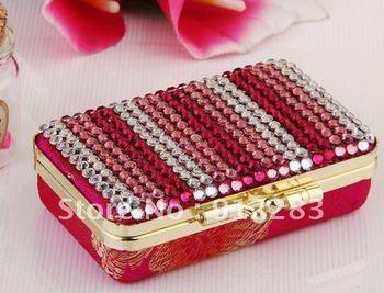 Free Shipping 10pcs 90*55mm Rhinestone Lipstick Storage Case With Pocket Makeup Mirror