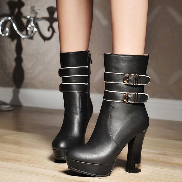 Фотография 2014 New Autumn Women Ankle Boots Belt Buckle Sexy Thick High Heels Lady Shoes Fashion sexy Platform Cool Motorcycle Boots