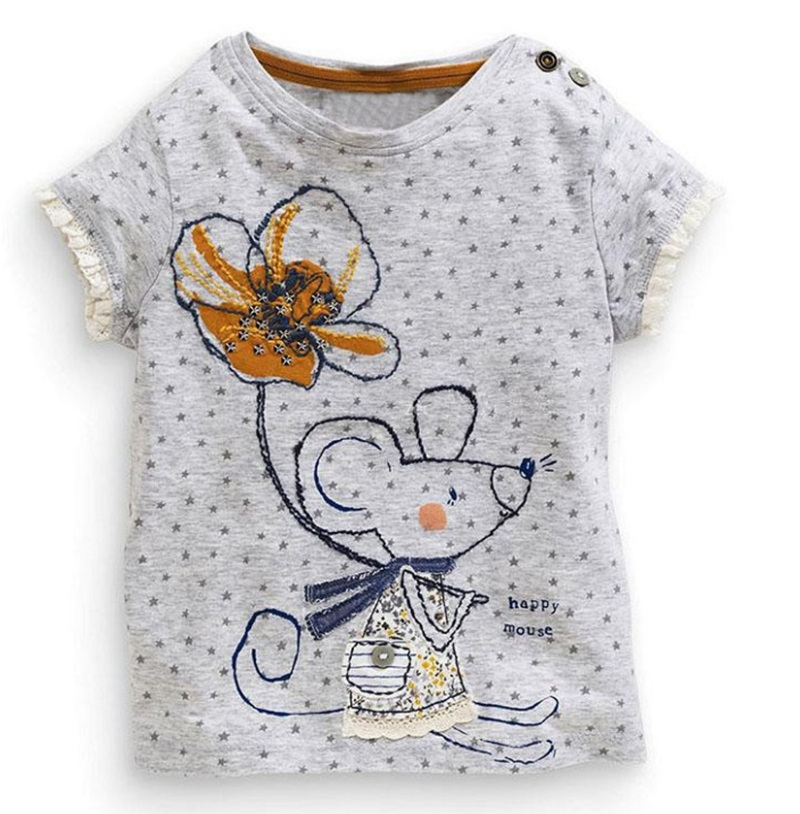 Retail Brand 2016New babyKids Girls Tshirt Child Clothing Childrens Tops Summer Clothes Short Sleeve Tee blouse shirts Cartoon(China (Mainland))