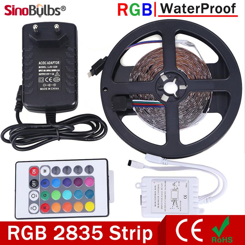 RGB LED Strip Light Waterproof 5M 300LEDs SMD2835 Flexible Light Set LED Tape DC12V IR Remote Controller Decoration Lamps(China (Mainland))