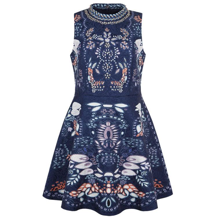 2015 blue elegant beaded vintage Romantic dress France brand vestido sem manga(China (Mainland))