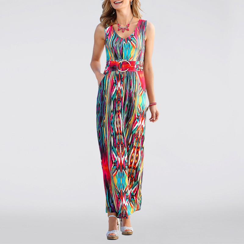 Women Summer Dresses 2016 Long Print O Neck Beach Dresses Bohemian Long Maix Casual Dress Robe Longue Party Dress(China (Mainland))