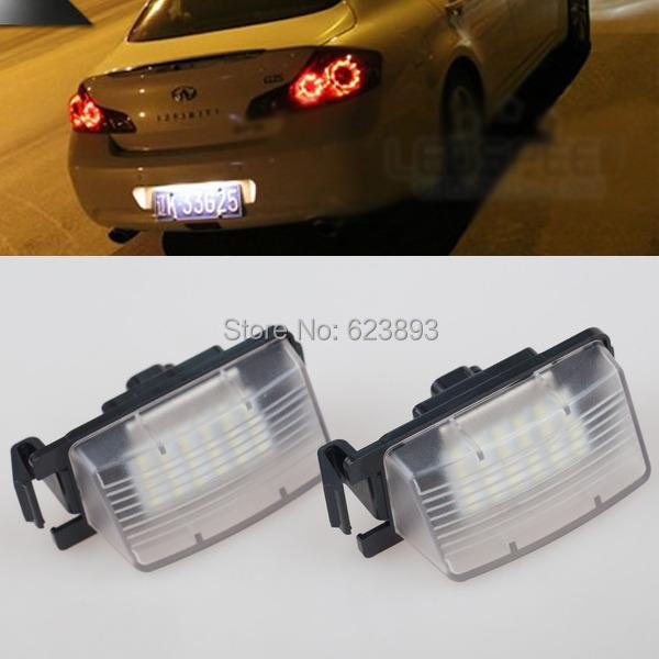 Free shipping, 2x Error Free White Led SMD License Number Plate Lights For Infiniti G35 G37 2007-2013(China (Mainland))