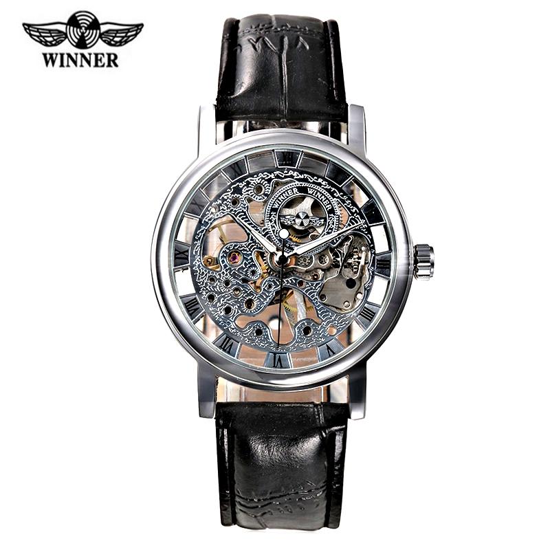 Heren Horloge Brand Logo Winner Men's Watch Leather Strap Mechanical Hand Wind Skeleton Man Hollow Erkek Kol Saati - Evan Store store