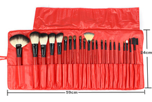 Free shipping 1 set with 22pcs red  make up  brushes professional high quality with  PU case of makeup