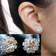 Fashion earrings for women spherical Flower Crystal Stud Earrings 03BW(China (Mainland))