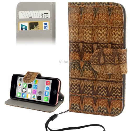Гаджет  Free Shipping Seneh Carpet Pattern Phone Leather Case with Credit Card Slot Holder Lanyard for iPhone 5C Yellowish Brown None Изготовление под заказ