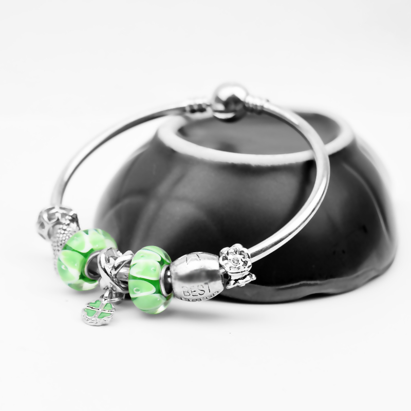 European fashion diy green bracelets for charms murano glass beads Fit Pandora bracelet Charms(China (Mainland))