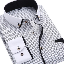 Buy 2016 Men Fashion Casual Long Sleeved Printed shirt Slim Fit Male Social Business Dress Shirt Brand Men Clothing Soft Comfortable for $9.49 in AliExpress store